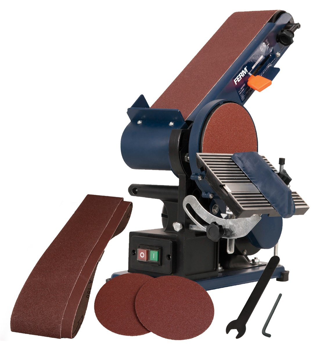 FERM Bench Sander - 375W - 150mm - Adjustable sanding belt - Angle Guide and Adjustable Working Table - With 2 Sanding Belts (P80&P120) and 2 Sanding Discs (P80&P120) BGM1003