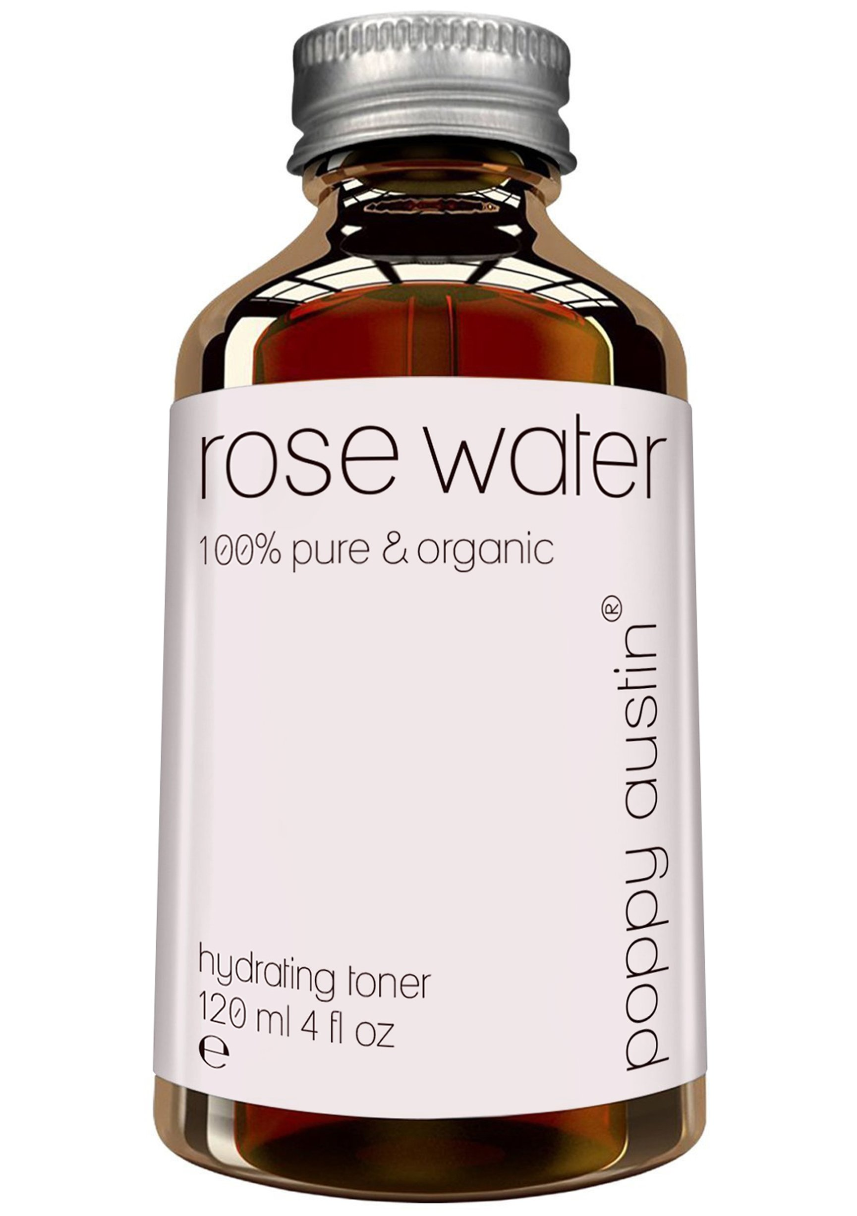 Pure Rose Water Facial Toner by Poppy Austin - Vegan Certified, Cruelty-Free & Organic - Finest, Triple Purified Moroccan Rosewater for Skin, 4 oz by Poppy Austin