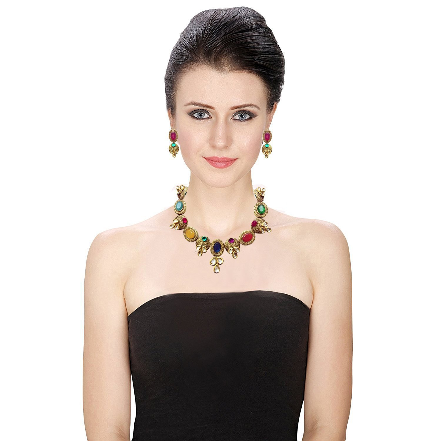 Diyofa Jewellery Bollywood Ethnic Gold Plated Semi Precious Kundan and Stone Antique Design Indian Necklace Set with Earrings for Women