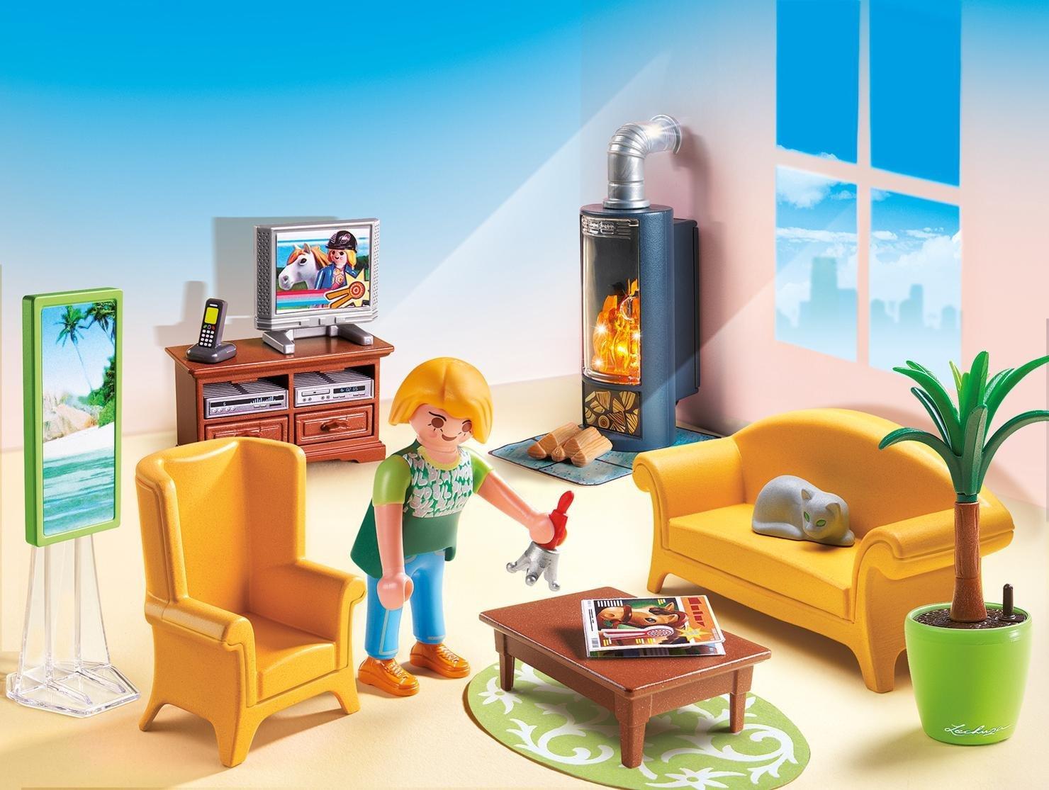 Playmobil  5308   salon avec poêle à bois: amazon.fr: jeux et jouets