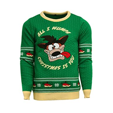Crash Bandicoot Official Christmas Jumperugly Sweater Green Amazon