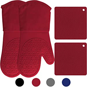 HOMWE Silicone Oven Mitts and Pot Holders, 4-Piece Set, Heavy Duty Cooking Gloves, Kitchen Counter Safe Trivet Mats, Advanced Heat Resistance, Non-Slip Textured Grip, Empire Red