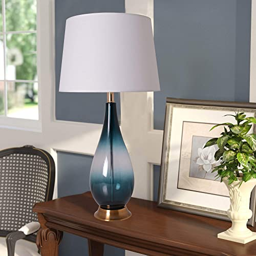 Modern Glass 28 inch Table Lamps for Living Room Set of 2 Bedside Lamps for Bedroom Table Lamp Nightstand Desk Lamps