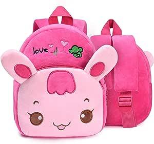 URAQT Mochilas Infantiles, Mochila Niña, Mochilas de Felpa de Pink Rabbit, Mochila para Niños Pequeños Mochila para Niñas Rosa, por 1-3 Años