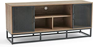 Linsy Home TV Stand Media Console for TV up to 55 Inch with Metal Frame ,Wood TV Cabinet with Storage with Metal Mesh Doors for Living Room ,Entertainment Room.