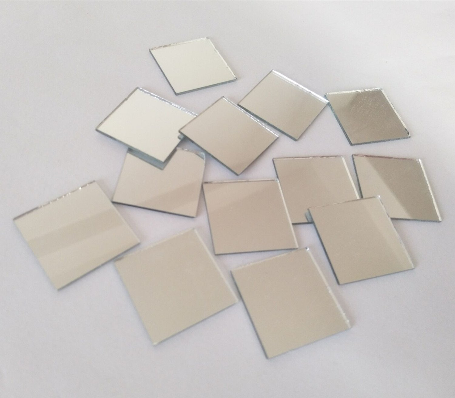 100PCS Glass Square Mirror Mosaic Tiles Square Craft Mirrors DIY Accessory (1inch) RUIXUAN