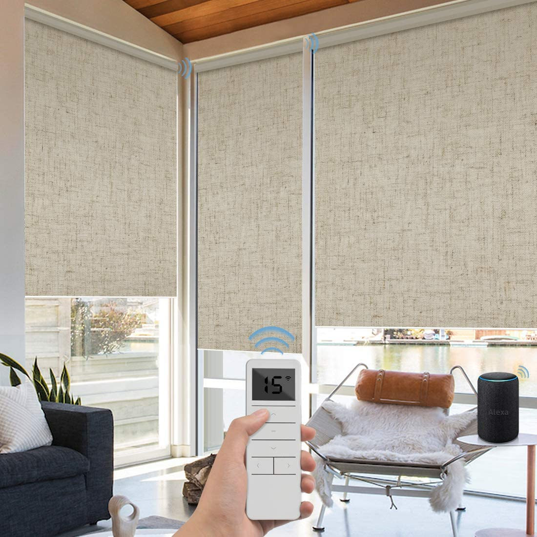 Graywind Motorized Roller Shades 100% Blackout Free Stop Window Shades Cordless Wireless Remote Control Window Roller Blinds with Valance for Smart Home and Office, Customized Size, Linen Beige