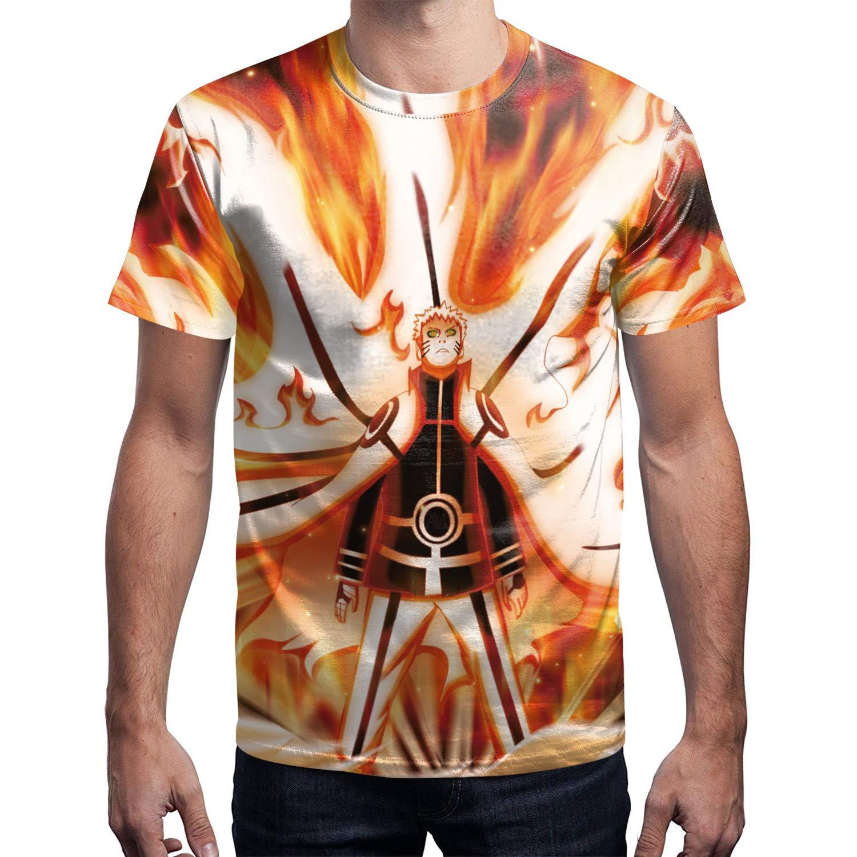 Amazon.com: Mens O-Neck Short Sleeve 3D Digital Print Fire ...