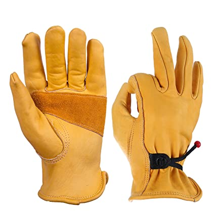 b7881f749 Work Gloves for Men, Tough Grip Cowhide Leather and Flexible Adjustable  Wrist for Wood Cutting/Garden Working/Construction/Driving/Mechanic - 1  Pair ...