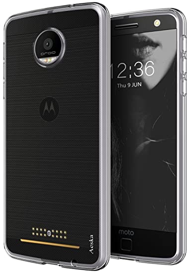 reputable site 61e6c 2f90e Aeska Moto Z Force Case, Ultra [Slim Thin] Flexible TPU Gel Rubber Soft  Skin Silicone Protective Case Cover for Motorola Moto Z Force Droid (Clear)