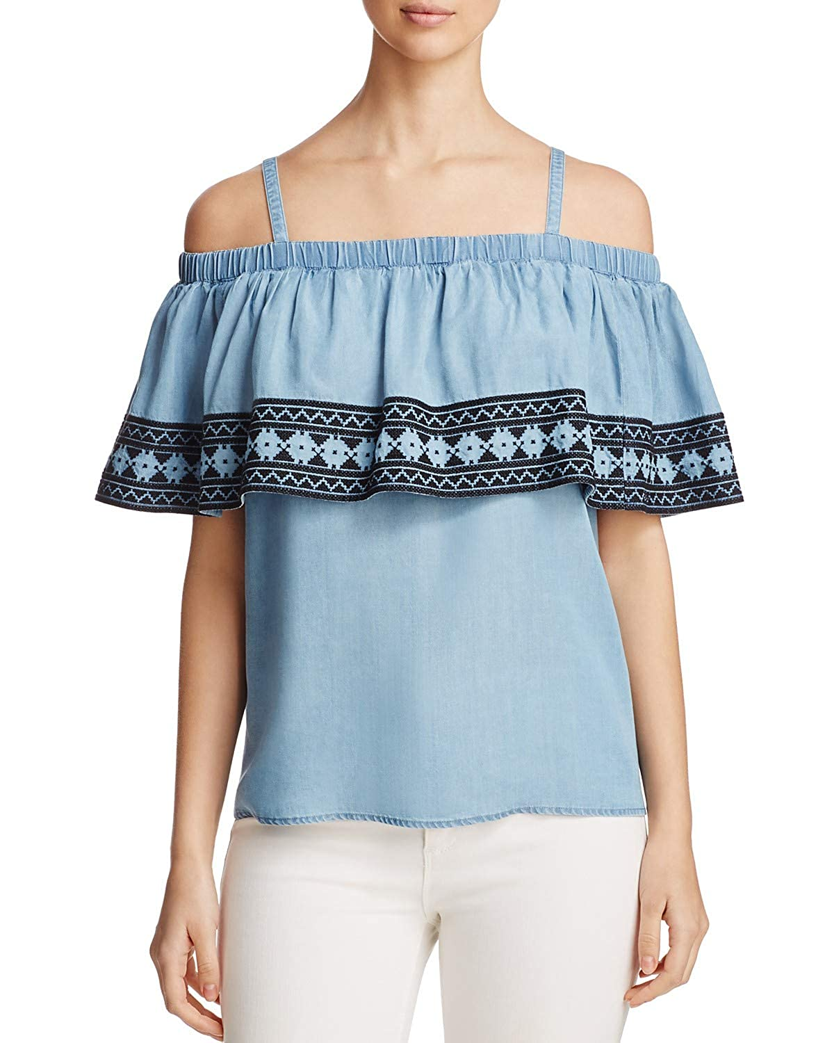 bluee Bagatelle Women's Ruffled Embroidered Cold Shoulder Top