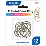 BAZIC 1 Inch Silver Metal Book Rings, Loose Leaf Binder Book Flash Cards Keychain Flashcards Index Card Key Ring for…