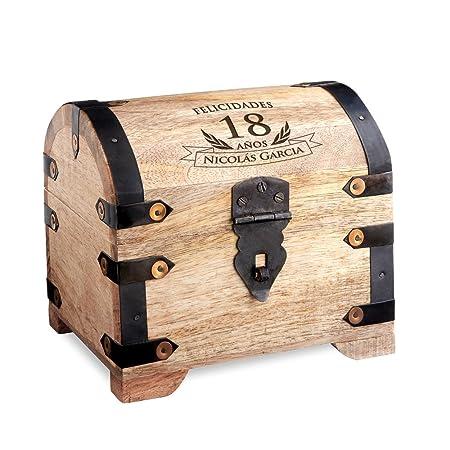 Casa Vivente – Cofre de Madera Clara – para el 18 Cumpleaños – Personalizado – Caja para Regalar Dinero – Regalo Original – Caja de Almacenaje, Hucha ...