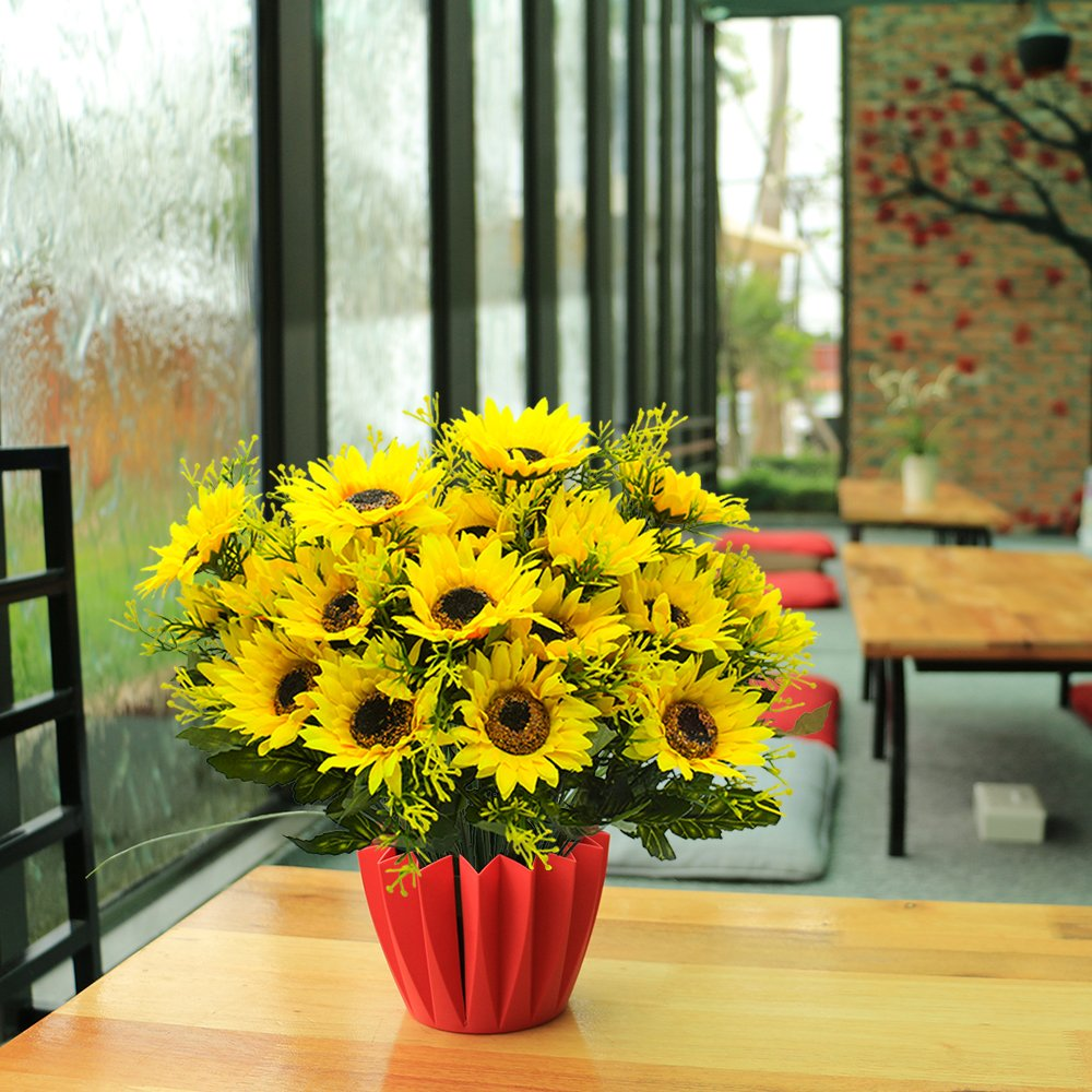 Grunyia Artificial Flowers Fake Sunflowers 4pcs Faux Silk Flowers