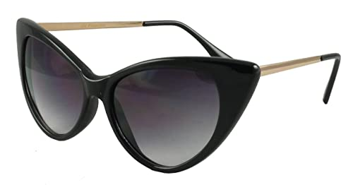 Revive Eyewear Office Fox - Gafas de sol de estilo ojo de gato con patillas de metal  Negro Black/Go...