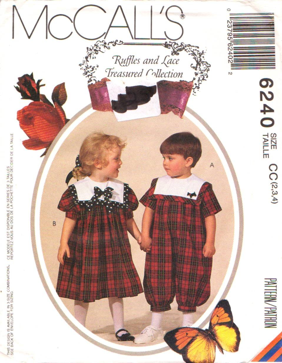 McCall s patrón de costura 6240 m6240 Niñas Niños Tamaño 2 ...