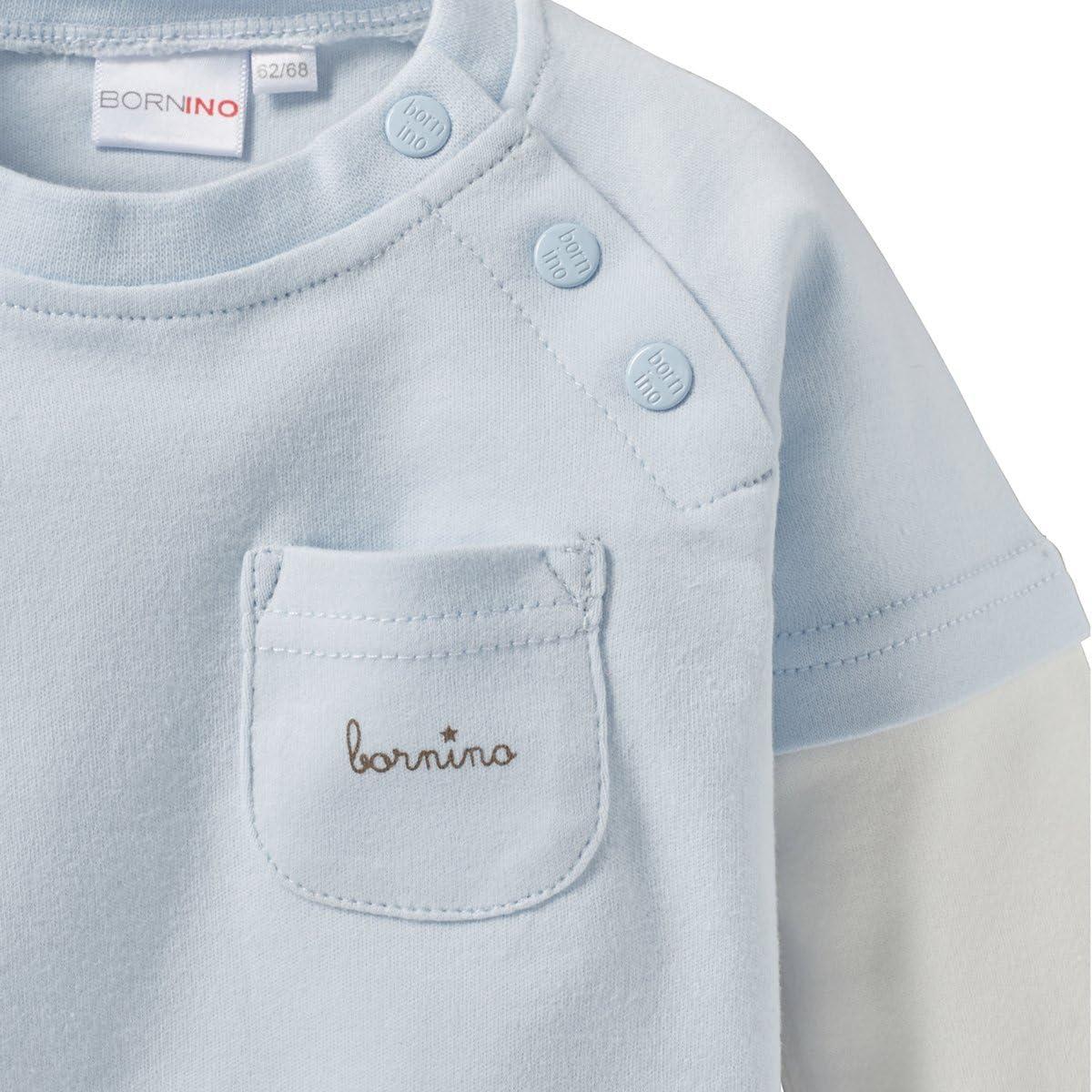 blau Bornino Basics Schlafanzug lang Wolken Baby-Pyjama mit Langarmshirt /& Hose mit aufgen/ähter K/ängurutasche /& fixiertem Einschlagbund
