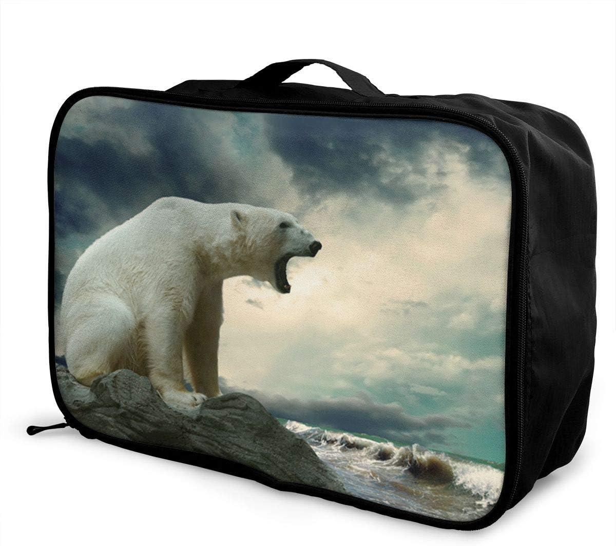 Polar-bear Travel Carry-on Luggage Weekender Bag Overnight Tote Flight Duffel In Trolley Handle