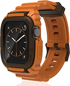 Compatible for Apple Watch Band 44mm 42mm with Bumper Case, Loxoto Rugged Protective Drop Shock Resistant Case with TPU Band Strap Fit for iWatch 6/SE/5/4/3 Men Women Sport Military Style, Kumquat