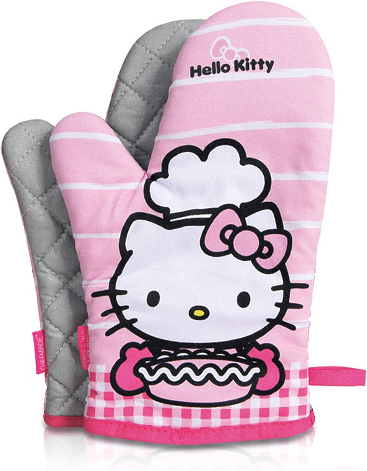 Finex Hello Kitty 2 Pcs Quilted Oven Mitt Set with Hanging Loop One Pair Mitts Machine Washable Kitchen Gloves