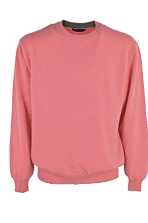 Sweater Men Crew Neck Coral Pink 2 Wire Wool Blend Cashmere Pink