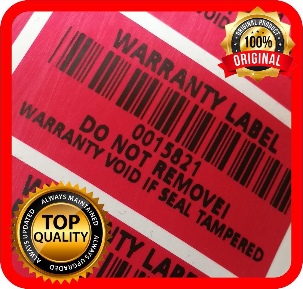 300 etichette Tamper Evident con numero di serie e codice a barre, rosso, 40 x 20 mm Warranty Label Seal ENGLISH TEXT Holomarks