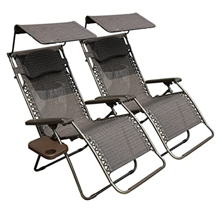 Abba Patio Oversized Zero Gravity Chair With Canopy - 2 Pack