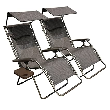 Abba Patio Zero Gravity Lounge Chair 2 Pack Oversized Adjustable Folding  Recliner With Sunshade And