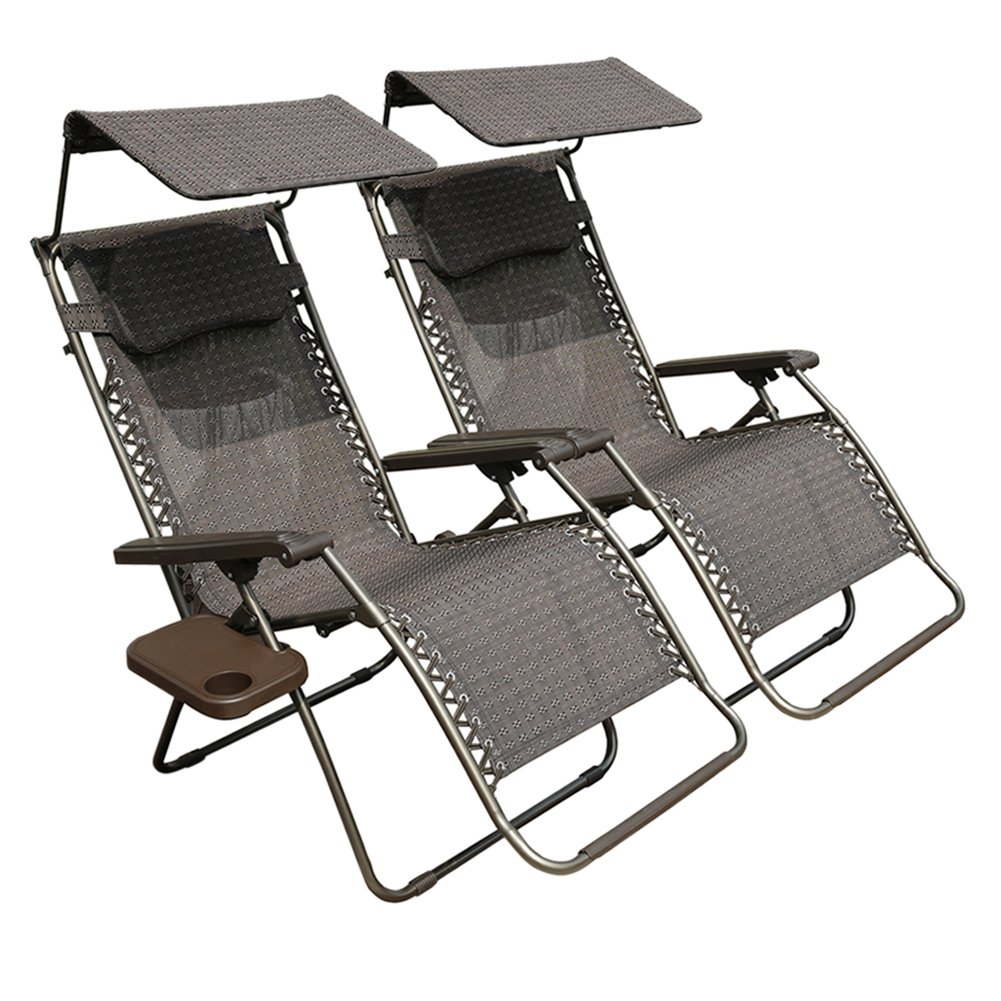 Abba Patio 2-Pack Zero Gravity Lounge Chair Oversized Recliner Chair with Cup Holder and Sunshade