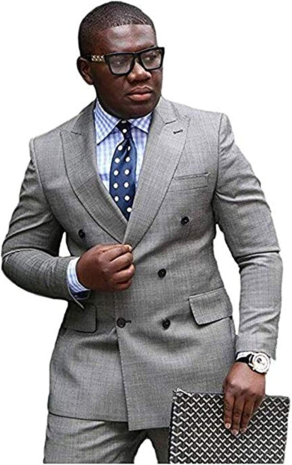 Wxili Grey Suits for Men Double-Breasted Two Piece Business Wedding Mens Suit Peaked Lapel 022