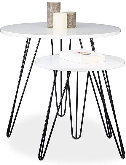 Relaxdays Set 2 Pezzi Tavolino Salotto Rotondo Legno E Metallo Hxd 52x60 Cm Per Divano Soggiorno Laccato Lucido Bianco Amazon It Casa E Cucina