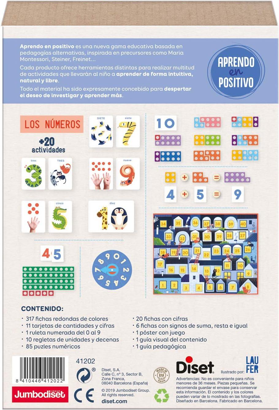 Diset - Los Números Juego Aprendo en Positivo, Multicolor, 41202: Amazon.es: Juguetes y juegos