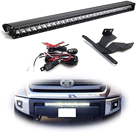 Ijdmtoy Lower Grille Mount 30 Inch Led Light Bar Kit For 2014 Up Toyota Tundra Includes 1 150w High Power Cree Led Lightbar Lower Bumper Opening
