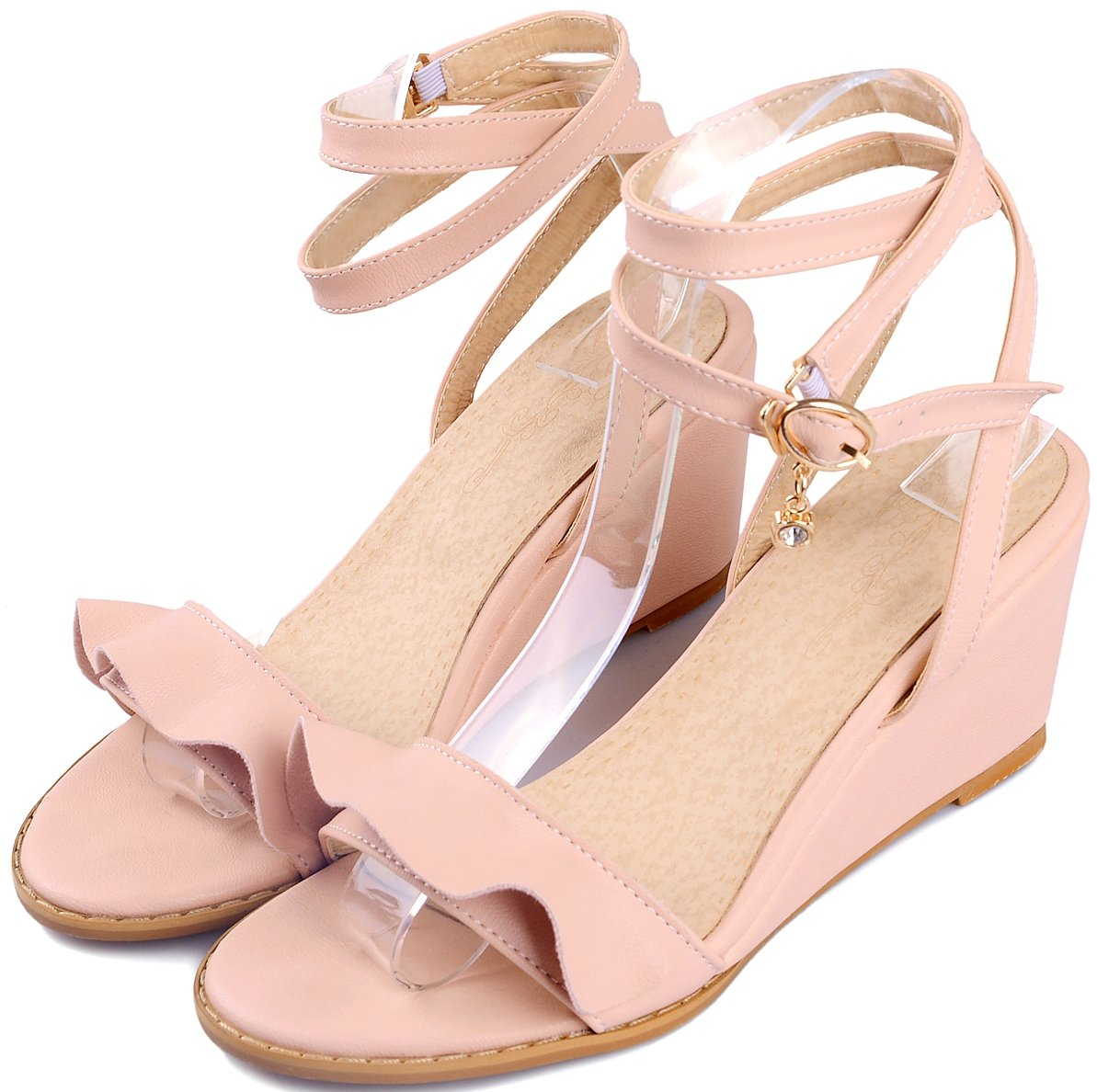 KingRover Women's Band Pendant Open Toe Single Band Women's Ankle Strap Comfy Shoes Mid Heels Wedge Sandals B07BT7YLCF 3 B(M) US|1pink 5091ce