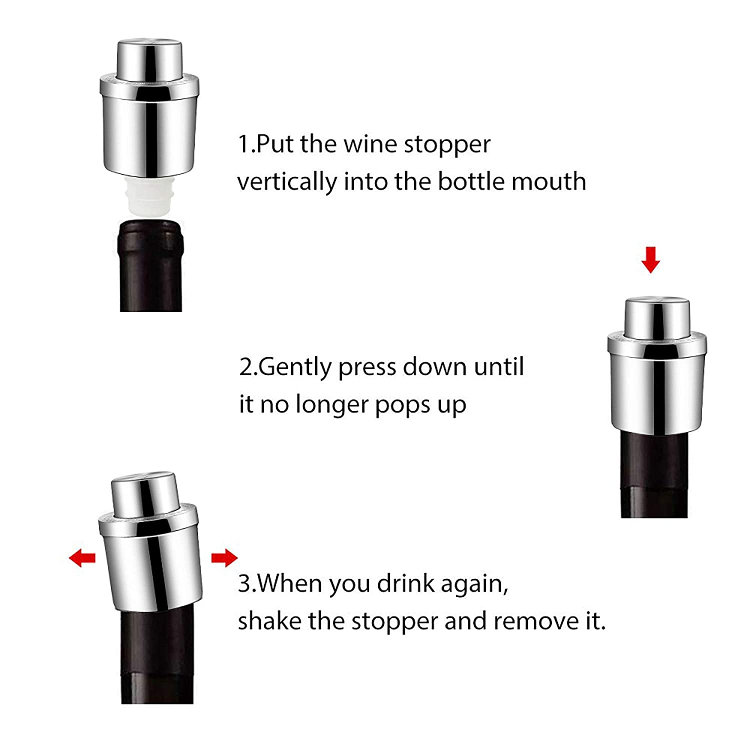 Wine Stoppers, GiniHome Stainless Steel Vacuum Wine Stoppers with Time Scale Record, Vacuum Beverage Bottle Saver with Inner Rubber Sealer Pump Cup