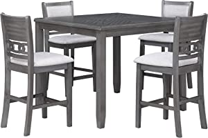 New Classic Furniture Gia 5-Piece Counter Table with Four Chairs, 42-Inch, Gray, Set