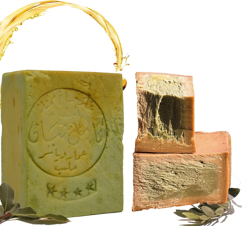 Jabón Aleppo, 190g, 80% aceite de oliva, 20% aceite de laurel, jabón para el cabello, jabón de ducha