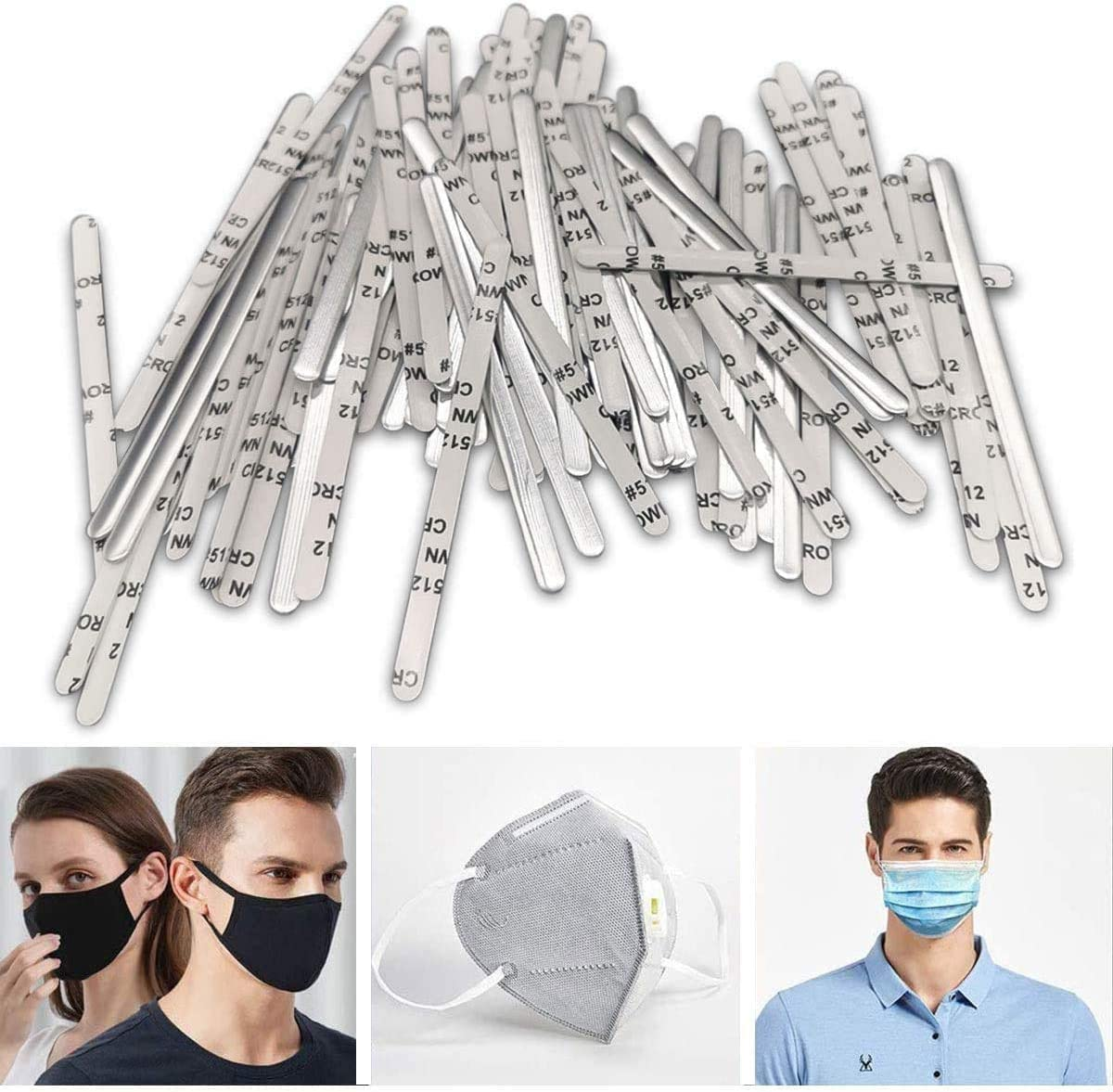 Nose Bridge Strips for Mask Nose Clips Mask Wire DIY Making Accessories for Sewing Crafts Metal Nose Strip for Masks 100pcs Sewing Accessories DIY Masks Nose Bridge for Mask