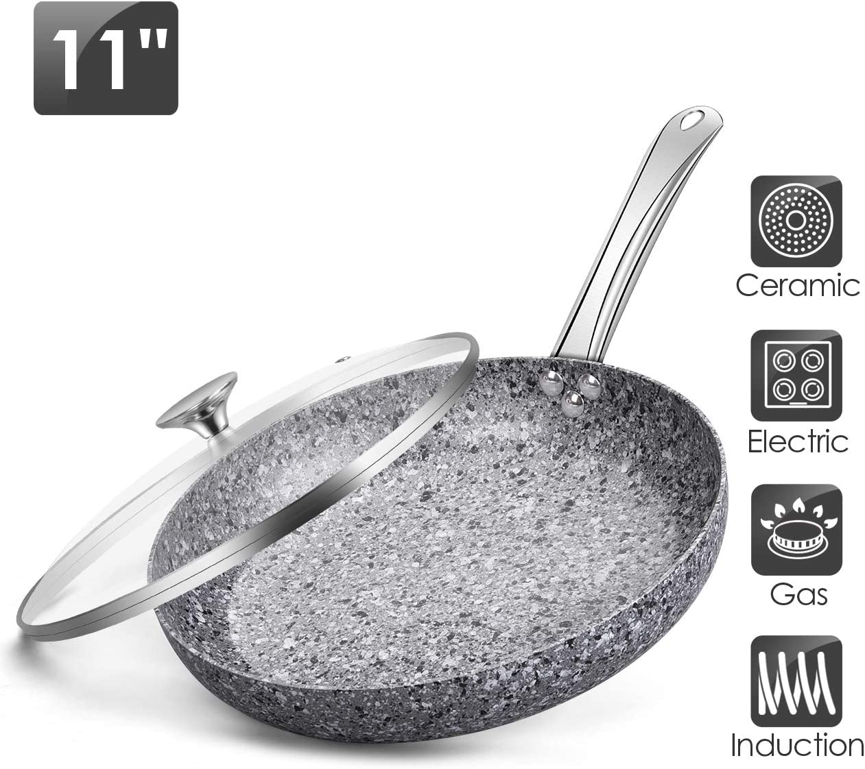 """11"""" Frying Pans Nonstick with Lids - Nonstick Skillet, Stir Fry Pans with APEO & PFOA-Free Stone Earth Ceramic Coating from Germany, Granite Pan with Stainless Steel Handle"""
