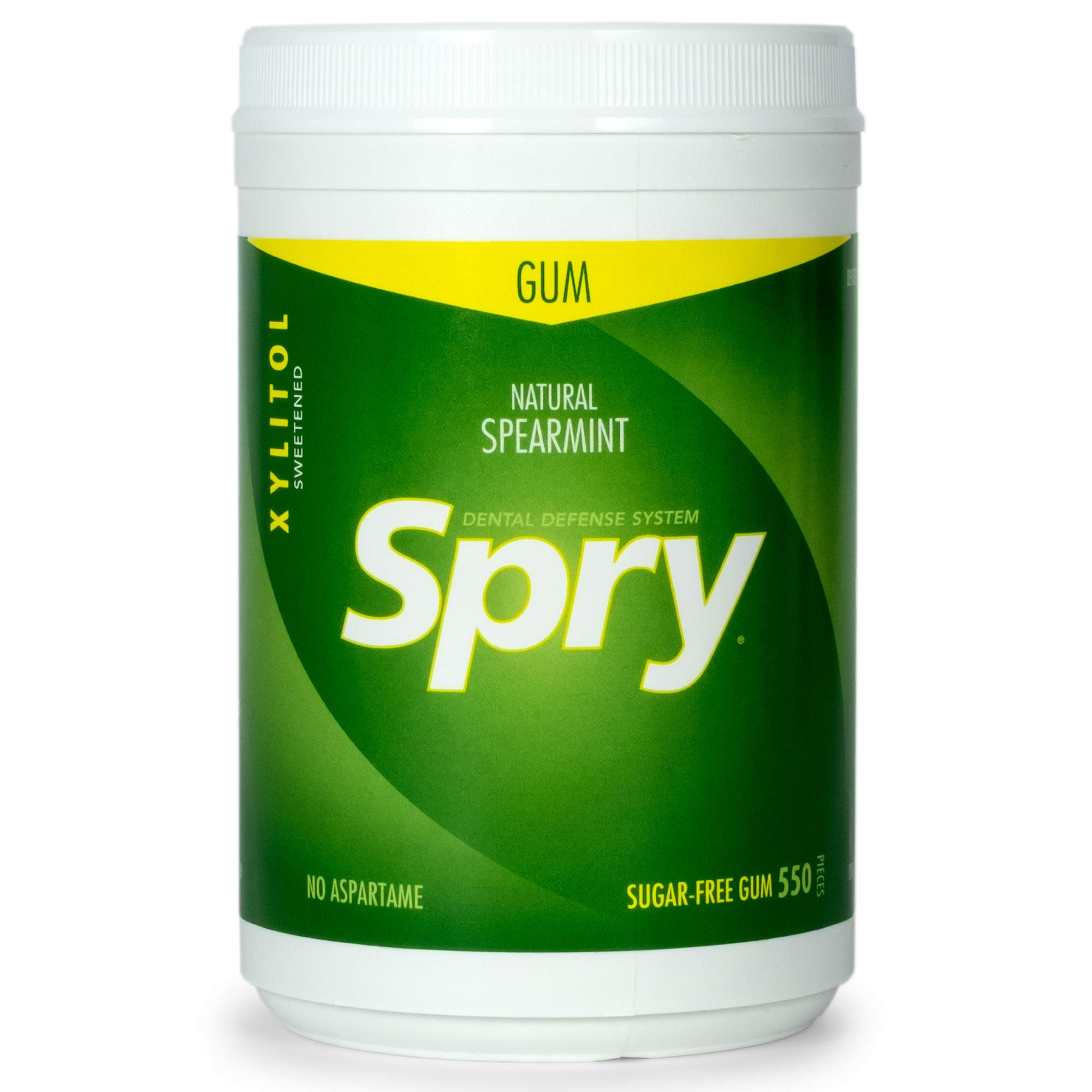 Spry Fresh Natural Spearmint Gum, Natural Xylitol Chewing Gum, 550 count by Spry