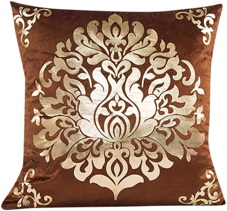 Kissenbezug 45 x 45 cm Goldsamt Quadrat Sofa Taille Wurf kopfkissenbez/üge LuckyGirls Beige
