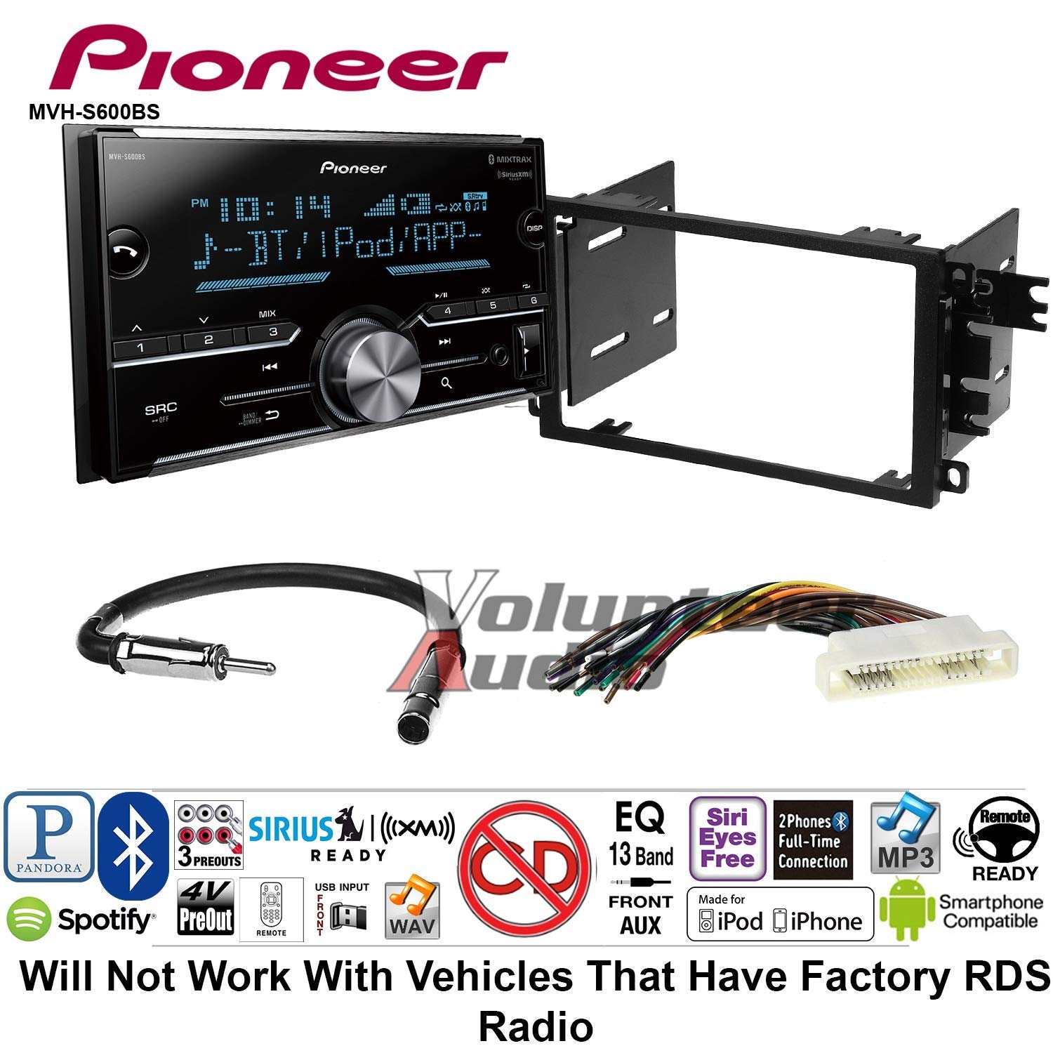 Volunteer Audio Pioneer MVH-S600BS Double Din Radio Install Kit with Bluetooth USB/AUX Fits 2000-2005 Buick Lesabre, 2000-2005 Pontiac Bonneville (Without Bose)