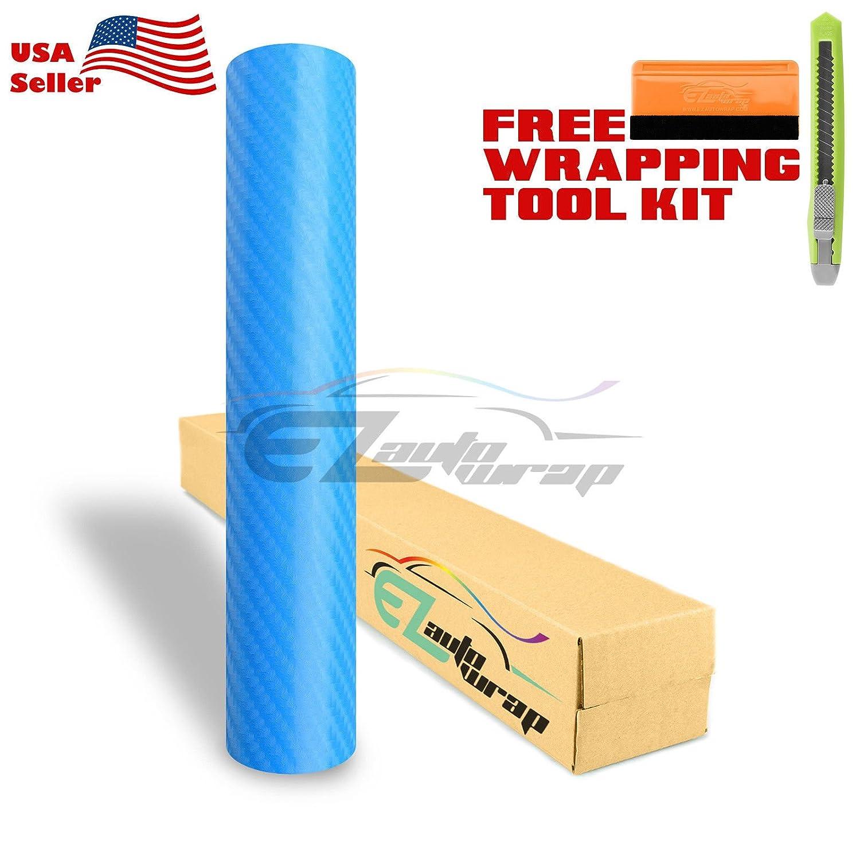 """*24/""""x60/"""" 4D Gloss Light Blue Carbon Fiber Car Vinyl Wrap Bubble Free Air Release"""