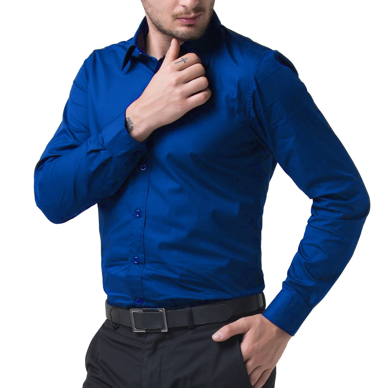 02d0401c5 BEING FAB Men's Solid 100% Cotton Regular Fit Casual Royal Blue Shirt:  Amazon.in: Clothing & Accessories