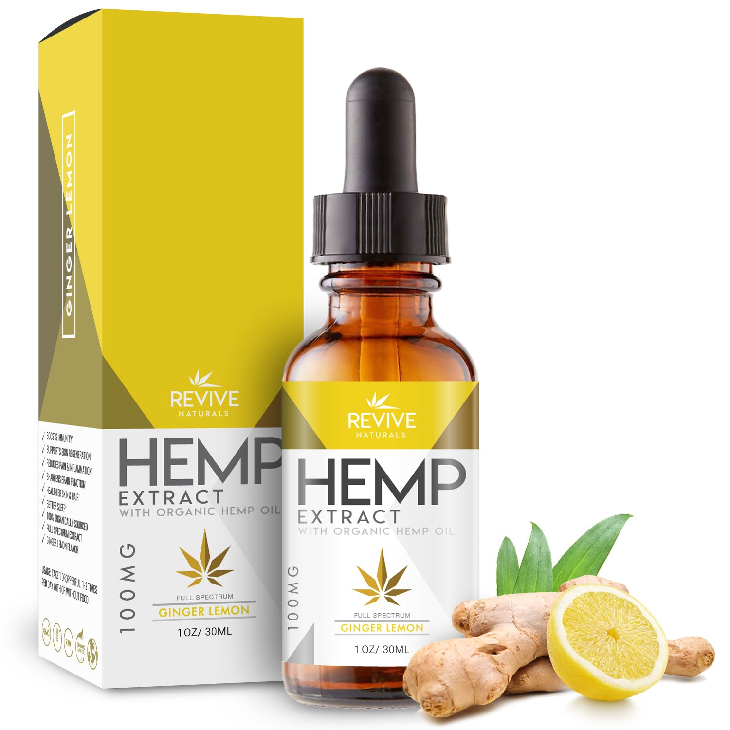 Revive Organic Raw Hemp Extract for Better Sleep (100MG), Ginger Lemon Flavor, Blended with Organic Hemp Seed Oil for Optimal Absorption, Lab Tested, GMP Certified, Kosher, Raw, Gluten Free, 1oz