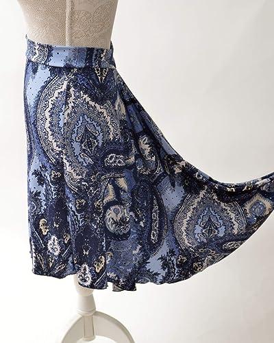 Hermoso azul cachemir Falda de tango brillante en cascada / Luce ...