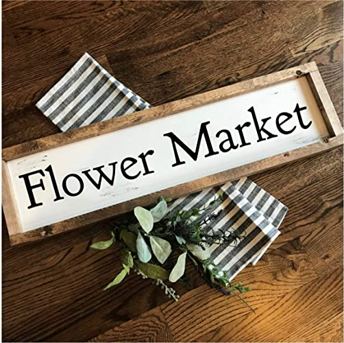 Flower Market | Hand-painted Over-sized Wooden Sign | Modern Farmhouse Style | Fixer Upper inspired home decor