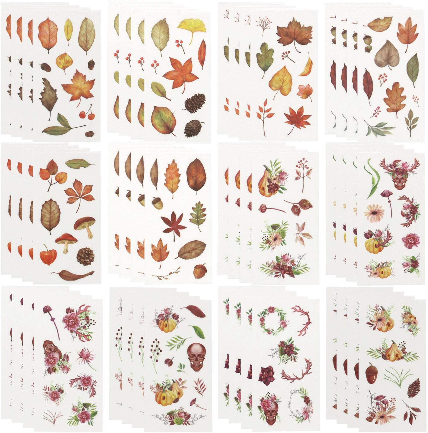 Planner Stickers Set (48 Sheets) Leaves Pumpkins Skulls Stickers Decorative Adhesive Sticker Collection for Scrapbooking, Diary, Album, Bullet Journals, Laptops, Cup, DIY Arts and Craft