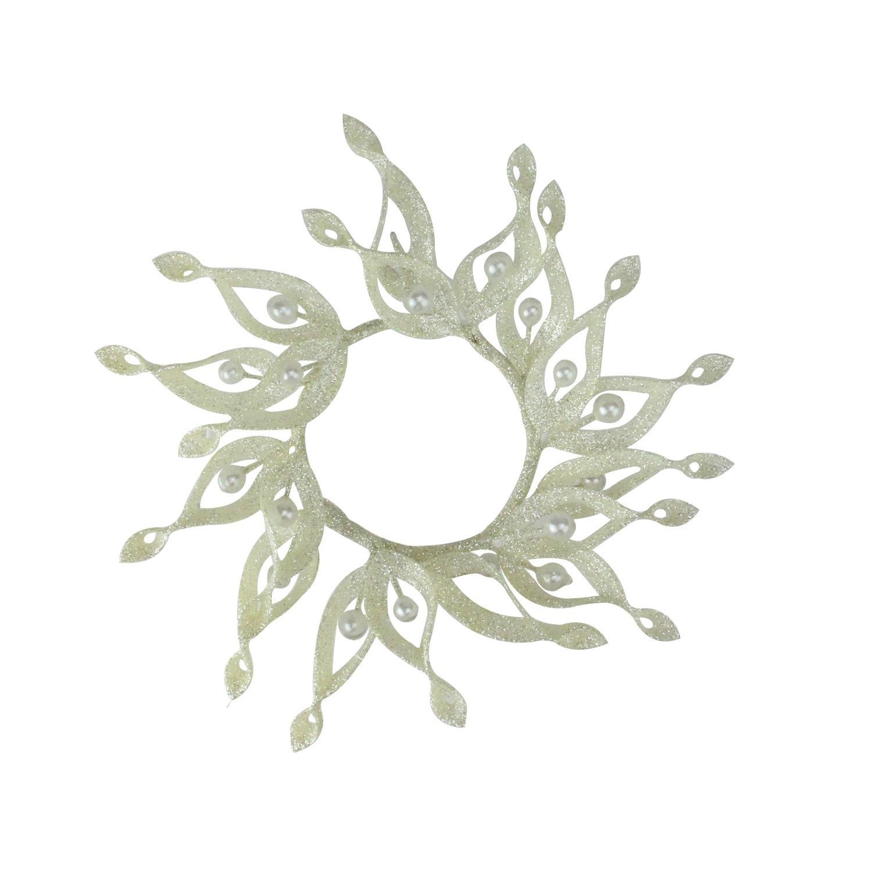 Melrose 9'' Sparkling Whites Glittered White Christmas Candle Ring Holder by Melrose
