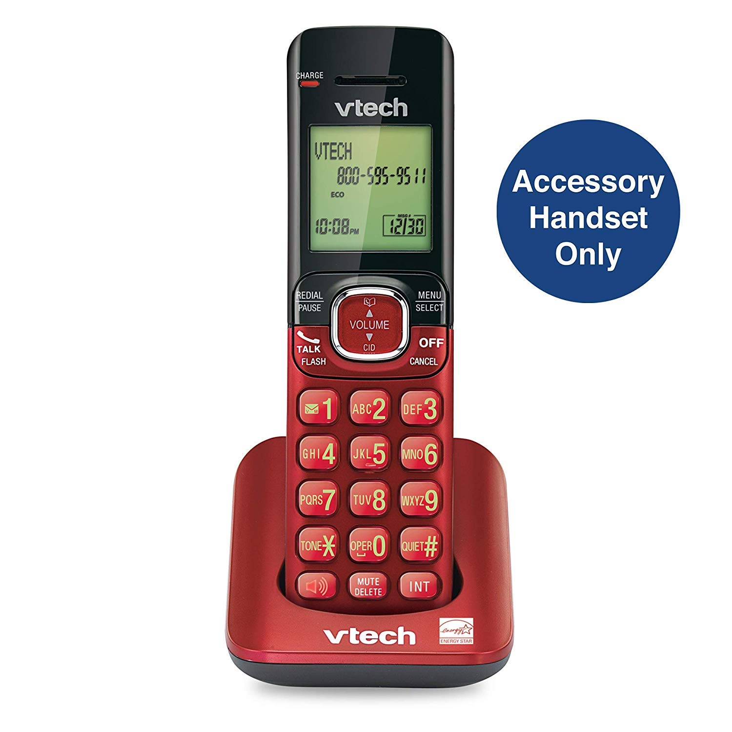 VTech CS6509-16 Accessory Cordless Handset, Red | Requires a VTech CS6519, CS6528, or CS6529 Series Cordless Phone System to Operate
